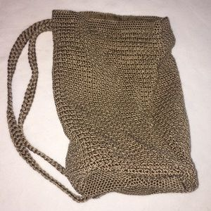The Sak Drawstring Backpack Purse Crochet Beige